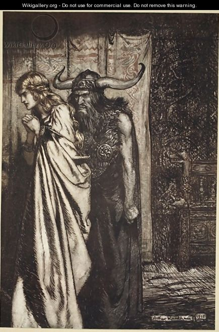 O wife betrayed I will avenge they trust deceived, illustration from Siegfried and the Twilight of the Gods, 1924 - Arthur Rackham