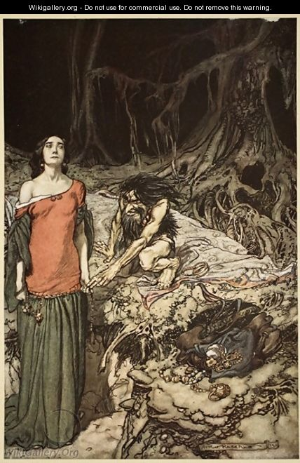 The wooing of Grimhilde, the mother of Hagen, from Siegfried and The Twilight of the Gods, 1910 - Arthur Rackham