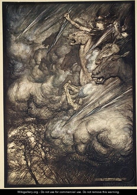 The ride of the Valkyries, illustration from The Rhinegold and the Valkyrie, 1910 - Arthur Rackham