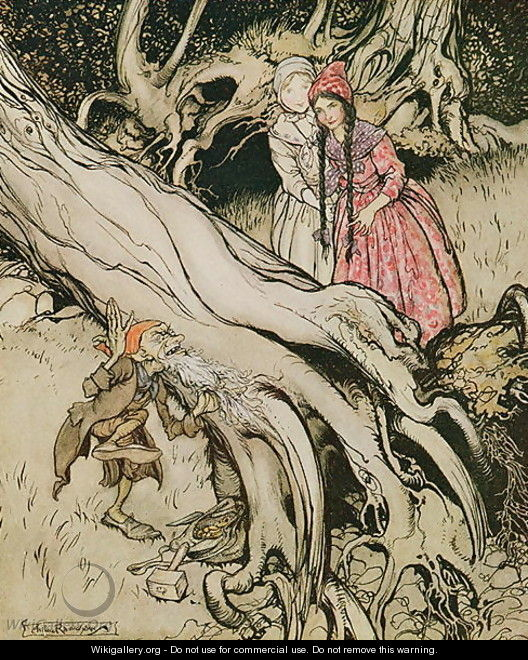 The end of his beard was caught in a tree, illustration from Snow White and Rose Red, from Fairy Tales of the Brothers Grimm, 1900 - Arthur Rackham