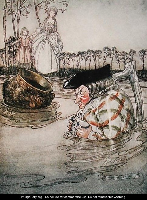 The Two Pots, illustration from Aesops Fables, published by Heinemann, 1912 - Arthur Rackham