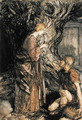 Siegmund and Sieglinde, Illustration from Rhinegold and the Valkyrie by Richard Wagner, Heinemann, 1910 - Arthur Rackham