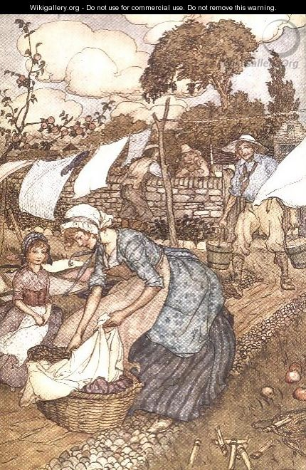 Washing Day from Rip Van Winkle by Washington Irving 1783-1859, 1905 - Arthur Rackham