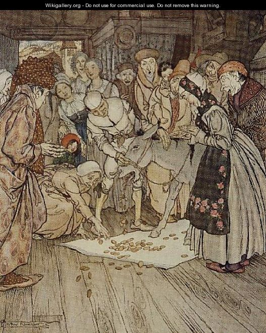 Gold pieces fell down on the cloth illustration to Washing Table, Golden Ass and Cudgel from Fairy Tales of the Brothers Grimm, 1900 - Arthur Rackham