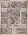 Quos Ego, Neptune Calming the Storm, with borders showing further scenes from Virgil's 'Aeneid', engraved by Marcantonio Raimondi 1480-1534 c.1515-16 - Marcantonio Raimondi