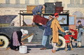 Leaving for the country, illustration from a school textbook, c.1920 - F. Raffin