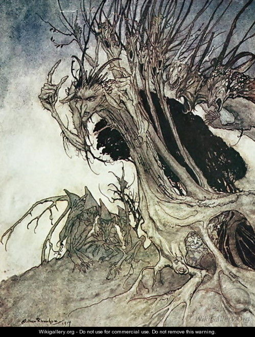 Calling shapes and beckoning shadows dire, from Comus by Milton, 1914 - Arthur Rackham