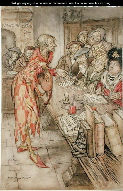 In did come the strangest figure, illustration from The Pied Piper of Hamelin, by Robert Browning - Arthur Rackham