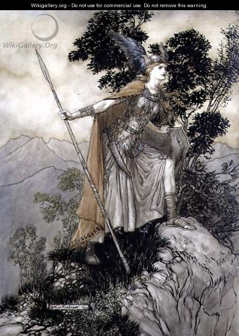 Brunhilde, illustration from The Rhinegold and the Valkyrie by Richard Wagner, 1910 - Arthur Rackham