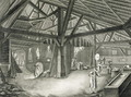 Glassmaking factory, from the Encyclopedia by Denis Diderot (1713-84), engraved by Robert Benard b.1734, published c.1770 - Radel