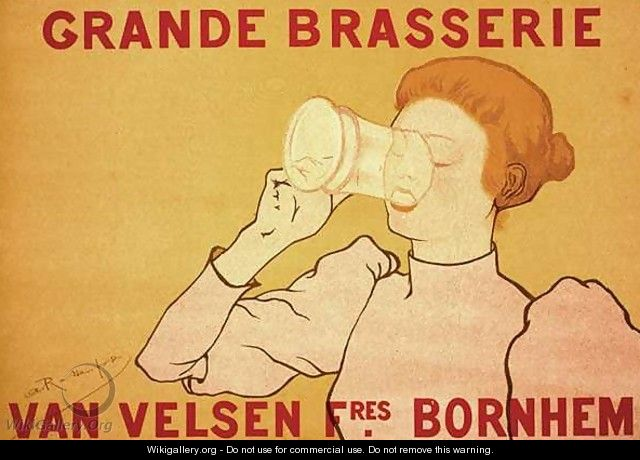 Reproduction of a poster advertising the Grande Brasserie Van Velsen, 1894 - Armand Rassenfosse