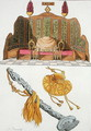 Throne of a Chinese Emperor, Yo-yo sceptre and cap, illustration from Le Costume Ancien et Moderne by Giulio Ferrario, published c.1820s-30s - Antonio Rancati