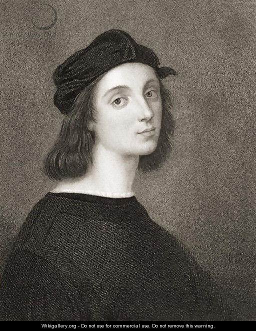 Raphael Raffaello Sanzio of Urbino 1483-1520 from Gallery of Portraits, published in 1833 - (after) Raphael (Raffaello Sanzio of Urbino)