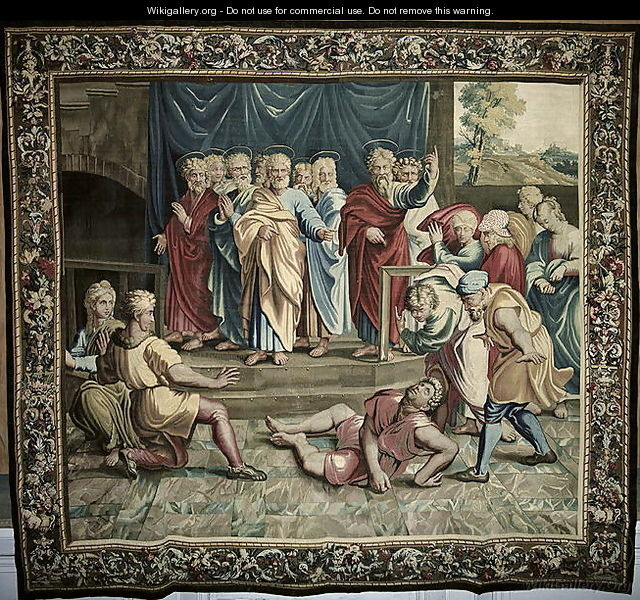 The Death of Ananias, from a series depicting the Acts of the Apostles, woven at the Beauvais Workshop under the direction of Philippe Behagle 1641-1705 1695-98 - (after) Raphael (Raffaello Sanzio of Urbino)