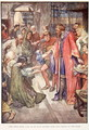 The Good King Was To Be Seen Giving Food And Drink to the Folk, illustration from The Story of France by Mary Macgregor, 1920 - (after) Rainey, William
