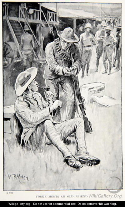 Yorke meets an old friend, an illustration from With Roberts to Pretoria: A Tale of the South African War by G.A. Henty, pub. London, 1902 - (after) Rainey, William