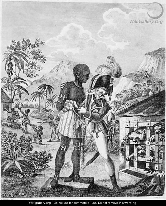 The Mode of training Blood Hounds in St. Domingo and of exercising them by Chasseurs, from An Historical Account of the Black Empire of Haiti, by Marcus Rainsford, engraved by Inigo Barlow fl.1790, published 1805 - (after) Rainsford, Marcus