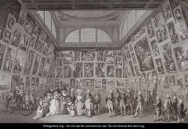 Interior view of Somerset House showing King George III (1738-1820), Queen Charlotte (1744-1818) and the Royal family viewing an exhibition of the Royal Academy of Arts in 1788, 1788 - Johann Heinrich Ramberg
