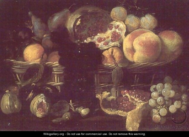 A basket of fruit and a plate of fruit - Giuseppe Recco