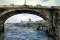 Waterloo Bridge with St. Pauls Cathedral in the Distance - Alfred Rawlings
