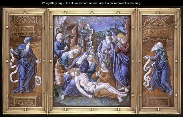 Triptych the Lamentation, Daniel and St. Peter, painted in Limoges, France, 1538 - Pierre Raymond
