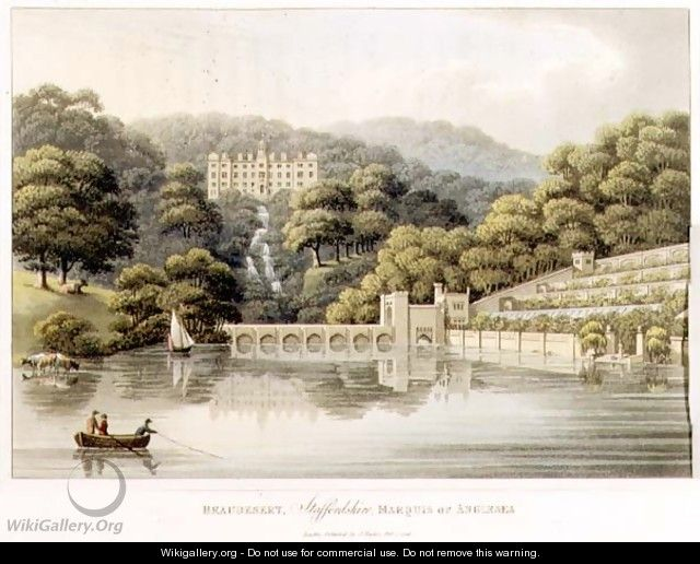 Beaudesert, Staffordshire, from Fragments on the Theory and Practice of Landscape Gardening, pub. 1816 - Humphry Repton