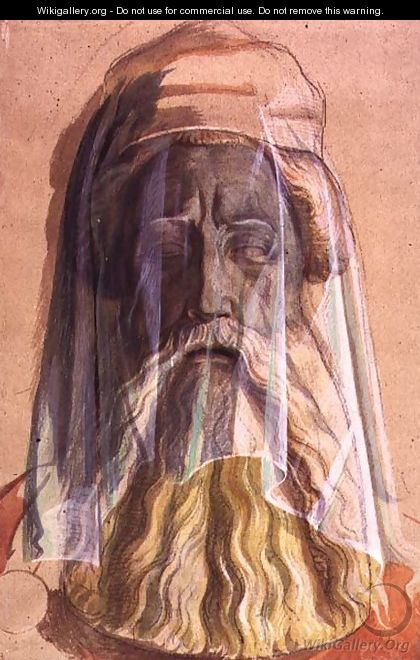Drawing of the Head of Charlemagne 742-814 in his grave, 1846-1847 - Alfred Rethel