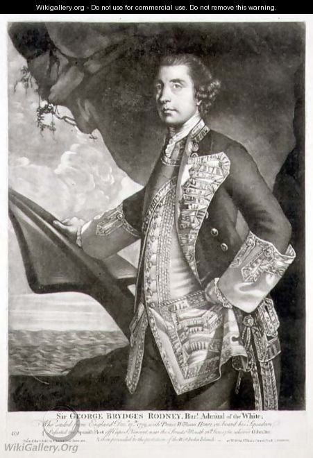 Portrait of Sir George Brydges Rodney 1719-92 Admiral of the White, engraved by William Dickinson 1746-1823 pub. by Carington Bowles fl.1744-93 - Sir Joshua Reynolds