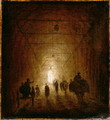 Riders and Pedestrians Passing Through an Arched Passage - Hubert Robert