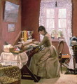 Johanne Wilde, the artists wife, at her loom - Lauritz Andersen Ring