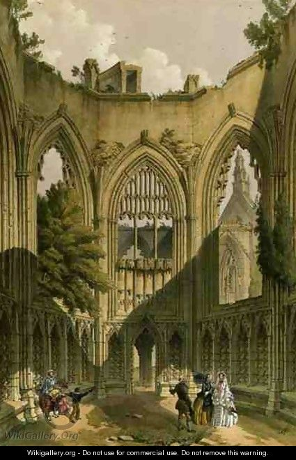 Howden Abbey, the Chapter House, from The Monastic Ruins of Yorkshire, engraved by George Hawkins 1819-52, 1842 - William Richardson