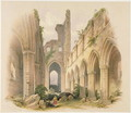 Kirkstall Abbey, the Nave and Choir, from The Monastic Ruins of Yorkshire, engraved by George Hawkins 1819-52, 1842 - William Richardson