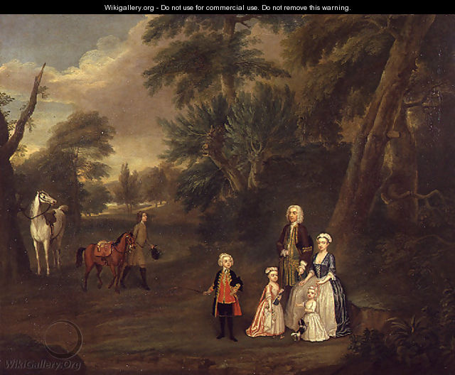 Thomas Hill of Tern, and his family in a landscape, 1730 - Charles Phillips