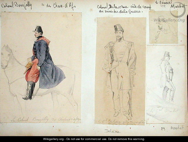 Colonel Bourjoly, Colonel Delarue and General Marbot 1782-1854 from Vues et Portraits Faits Pendant la Campagne de Mai 1840 1840 - Felix Philippoteaux
