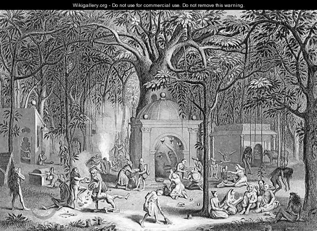 Hindu Fakirs Practising their Superstitious Rites, engraved by Bell, from World Religion, published by A. Fullarton and Co. - (after) Picart