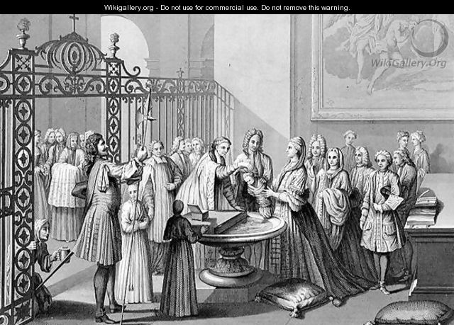 Baptism according to the Church of Rome in the 18th century, engraved by A. Thorn, from World Religion, published by A. Fullarton and Co. - (after) Picart