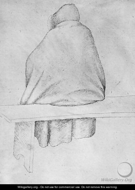 Monk seated on a bench, seen from behind, from the The Vallardi Album - Antonio Pisano (Pisanello)