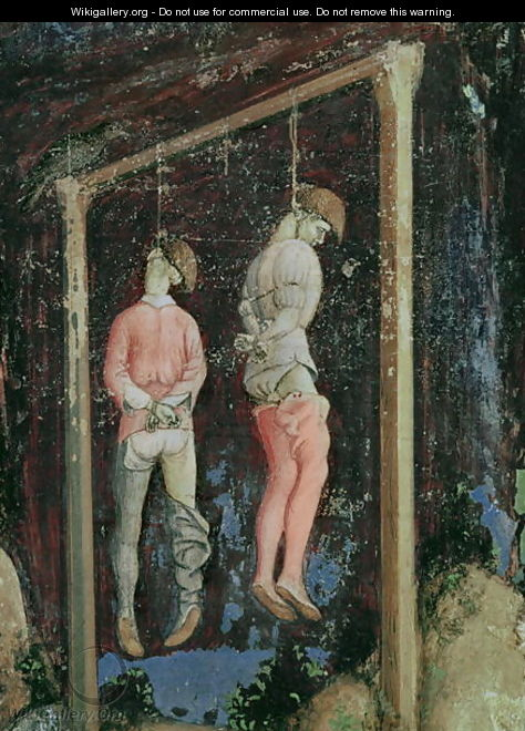 St. George and the Princess of Trebizond, detail of two hanging men from the left hand side, c.1433-38 - Antonio Pisano (Pisanello)