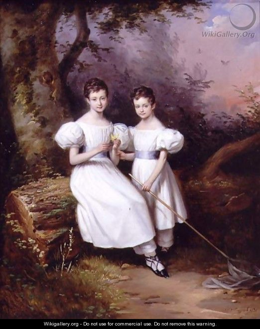Portrait of Two Children, 1831 - Edouard Pingret