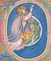 Historiated initial O depicting God creating the stars - Sano Di Pietro