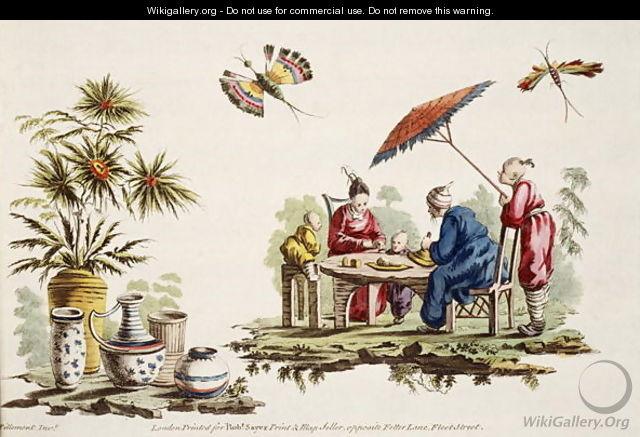 Illustration showing figures wearing Japanese apparel and parasol from For Ladies Amusement..Art of Japanning..Pillement, Jean Baptiste 1728-1808 - Jean-Baptiste Pillement