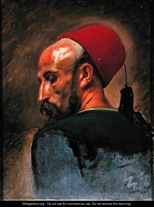 Head of an Arab in a Fez - Isidore Alexandre Augustin Pils