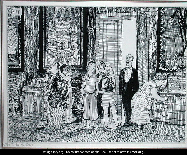 The British Character keen interest in historic houses, illustration from Punch, published 8th July 1936 - Graham Laidler Pont