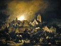 Fire in a village at night, 1655 - Egbert van der Poel