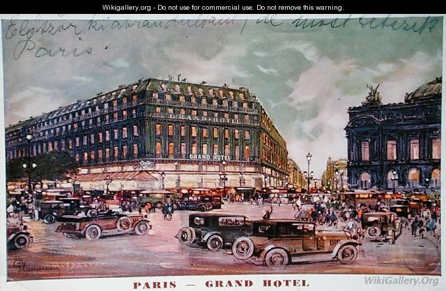 Postcard depicting the Grand Hotel, Cafe de la Paix and the Place de lOpera, Paris, 1929 - Plumereau
