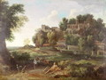 An Italianate wooded landscape with figures resting on a path and a town beyond - Nicolas Poussin