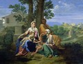 The Holy Family with SS. John, Elizabeth and the Infant John the Baptist - Nicolas Poussin