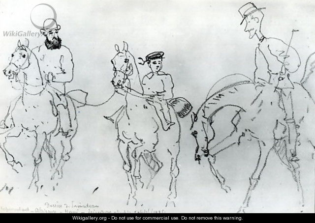 Three Horsemen Henri de Toulouse-Lautrec 1864-1901 between his Father, Count Alphonse, and the Artist - Rene Princeteau