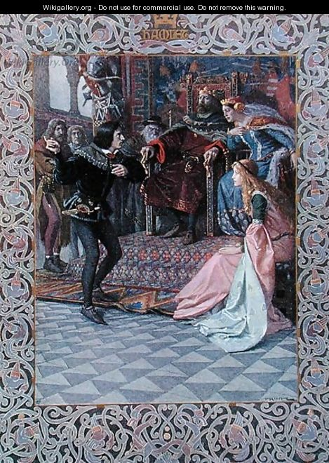 Hamlet before King Claudius, Queen Gertrude and Ophelia, scene from Hamlet by William Shakespeare 1564-1616 c.1900 - Christian August Printz