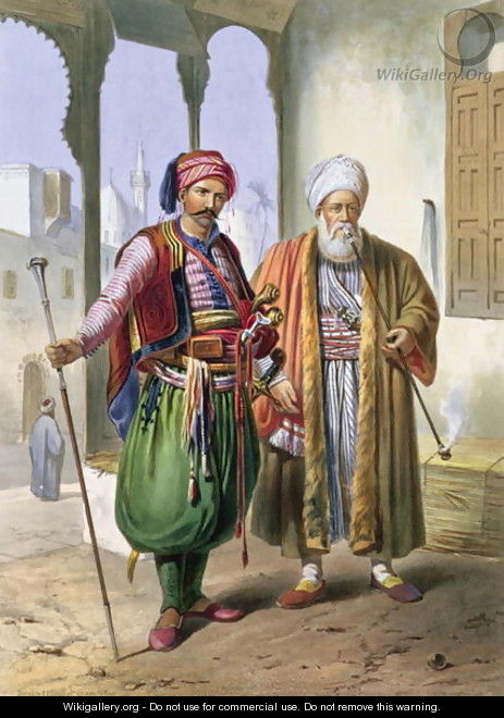 A Janissary and a Merchant in Cairo, illustration from The Valley of the Nile, engraved by Charles Bour 1814-81 pub. by Lemercier, 1848 - Emile Prisse d